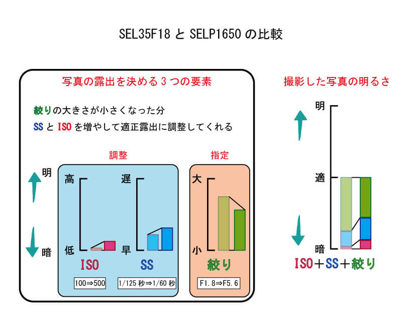 SEL35F18とSELP1650の比較
